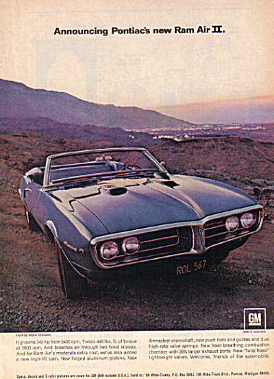 1968 Pontiac FIREBIRD Ram Air II Car AD (Image1)