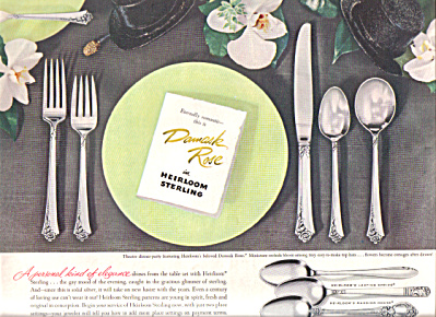 1951 Oneida Heirloom DAMASK ROSE Silver AD (Image1)