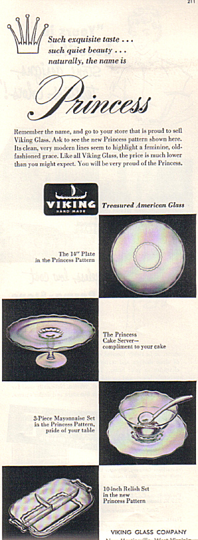 1952 Viking Glass Princess Pattern Original A