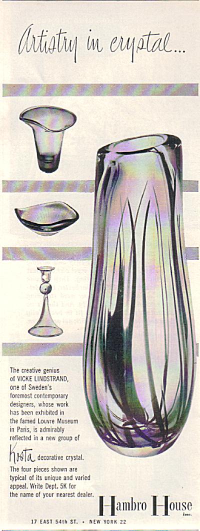 1952 KOSTA Vicky Kinstrand sweden GLASS AD (Image1)