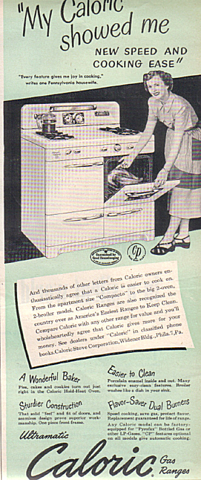 1950 Caloric Ultramatic Gas Range Oven Ad