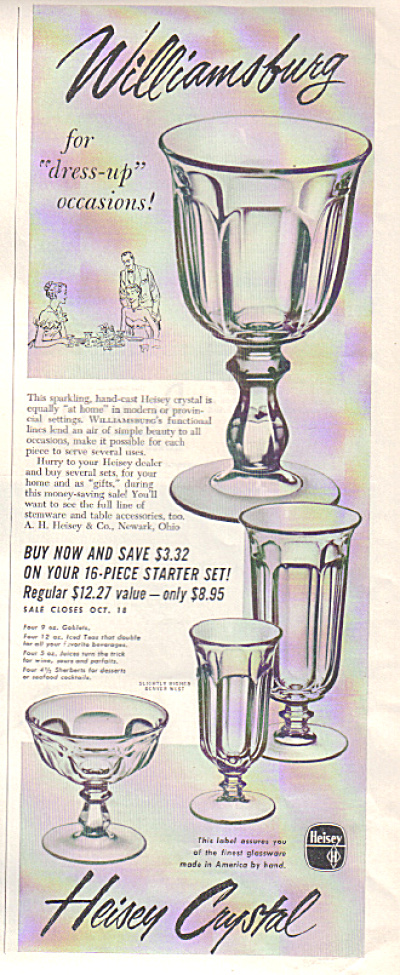1952 HEISEY WILLIAMSBURG Glass Crystal AD (Image1)
