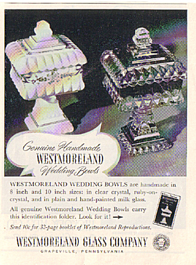 1952 Westmoreland Glass WEDDING BOWL AD (Image1)