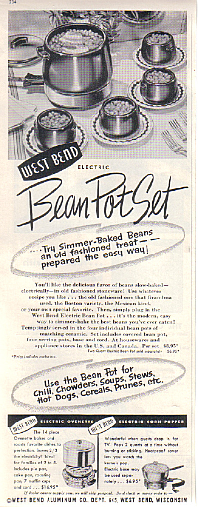 1952 West Bend Bean Pot Set Original Ad