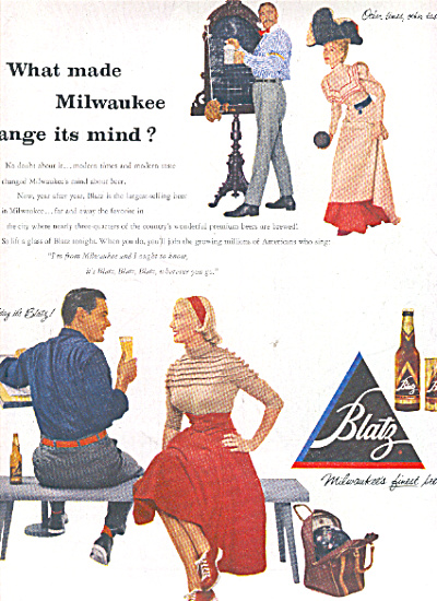 1953 BLATZ Milwaudee Mind Change Beer AD (Image1)