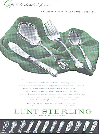 1953 LUNT Sterling Silver AD 13 PATTERNS AD (Image1)