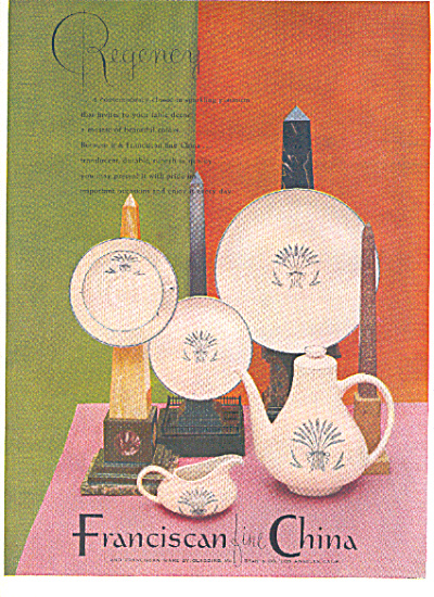 1953 Franciscan REGENCY Dinnerware Pattern AD (Image1)