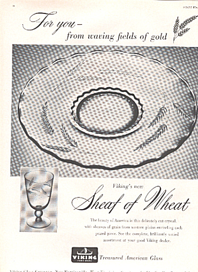 1953 Viking Sheaf Of Wheat Glass Ad