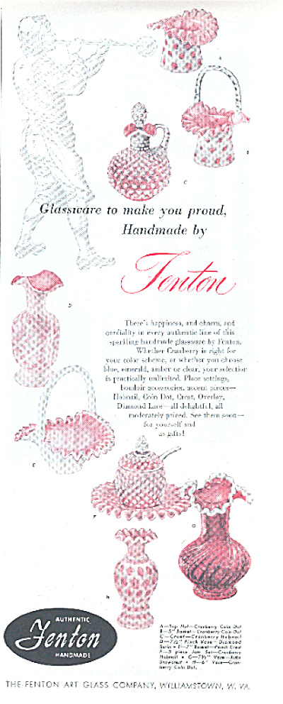 1951 Fenton CRANBERRY Glass 8 Pattern AD (Image1)
