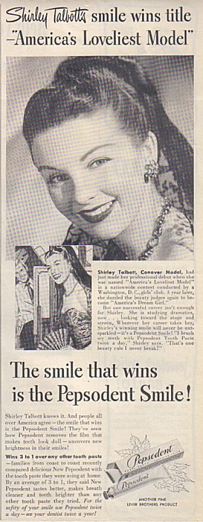 1949 SHIRLEY TALBOTT Conover Model Pepsodent (Image1)