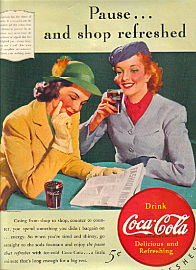 1940 Coke Coca Cola Women Fashions Ad