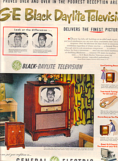 1951  General Electric DAYLITE TELEVISION AD (Image1)