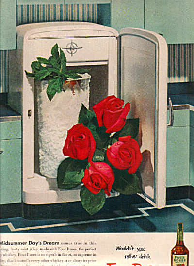 1951 RETRO Aqua FOUR ROSES Whiskey Julep AD (Image1)