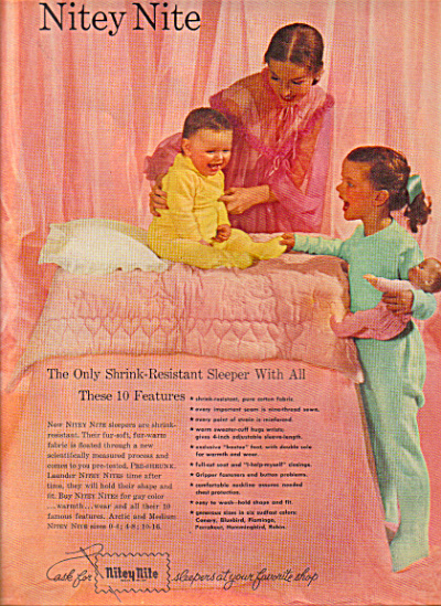 1951 NITEY NITE Sleepers Kids  Mom Pajamas (Image1)