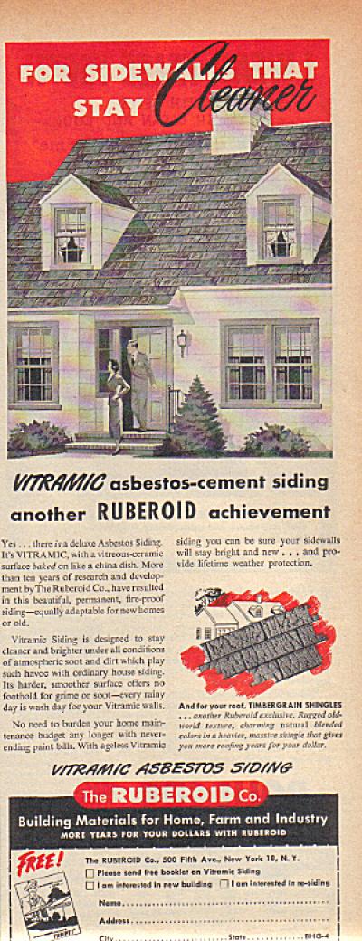 1950 RUBEROID ASBESTOS Vitramic Siding ad (Image1)