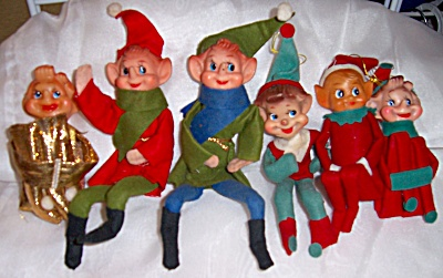 6 Vintage Elves Pixie Christmas Elf Shelf Sittier  (Image1)