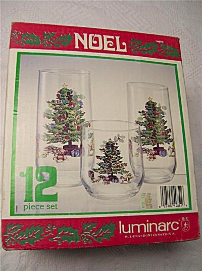 10 Durand NOEL Christmas Tree Glass Tumblers MIB Boxed  (Image1)