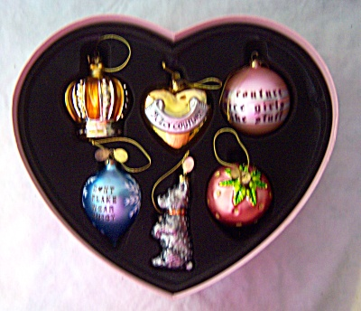 Set Of Six Juicy Couture Holiday Glass Ornaments