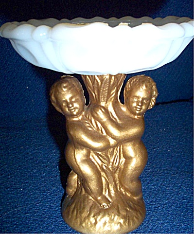 Nude Cherub Milk Glass Decanter ANSEHL St Louis MO CUTE (Image1)