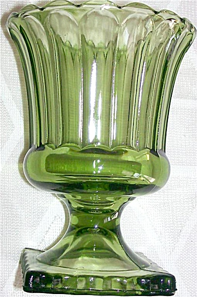 Hazel Atlas OLIVE GREEN Candle Holder Panelled GLASS (Image1)