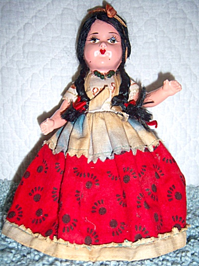 Vintage 9 inch COMPOSITION DOLL Joint Snow White Ethnic (Image1)