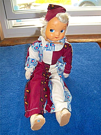 Vintage GOOGLY Mask FACE Cloth DOLL ORIGINAL Poland  (Image1)