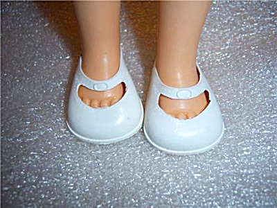 Vintage White Vinyl Doll Shoes Mary Janes 2 1/8
