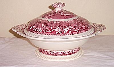 RARE Mason's Masons VISTA Pink PEDESTAL Serving BOWL w/ (Image1)