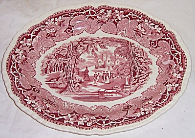 MASONS VISTA PINK RED 13 1/2 inch x 10 5/8 inch platter (Image1)