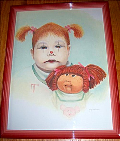 RARE Jim HOWLE GIRL CLOWN CABBAGE Patch Doll LITHOGRAPH (Image1)