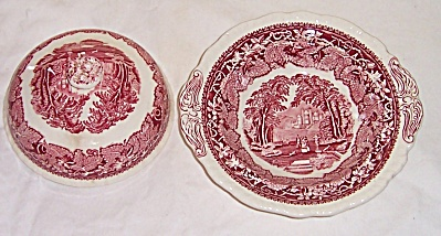 RARE Mason's Masons VISTA Pink Round Covered BUTTER  (Image1)
