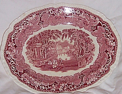 Mason's VISTA PINK 11 INCH Oval Serving Platter GADROON (Image1)