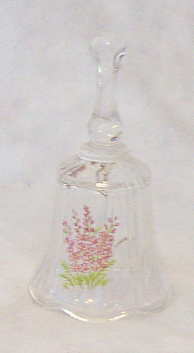 Clear July Glass Bell With Pink Flowers (Image1)