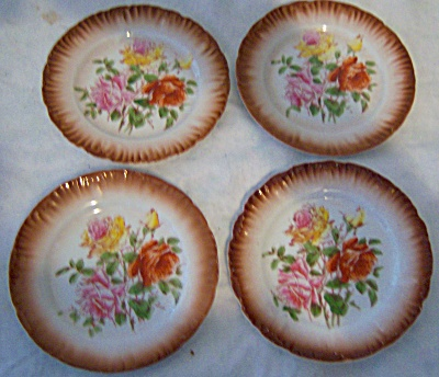 LOT of FOUR Hand Painted - Transfer ROSES Antique Plate (Image1)