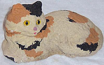 VINTAGE SAND Cast Concrete CALICO CAT STATUE  Figurine (Image1)