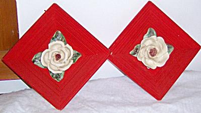 Pair 3D Vintage CAPODIMONTE Rose ~ Magnolia Wall Art (Image1)