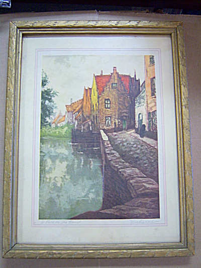 Vintage VANHORNE Art Lithograph Frame Print Path Canal (Image1)