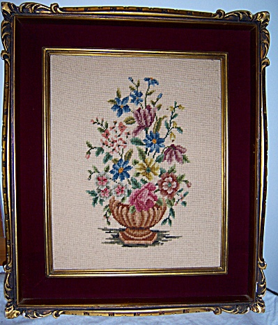 Huge Vintage NEEDLEPOINT Framed Gesso Picture (Image1)