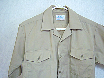 US NAVY USN Shirt KHAKI Dacron/Cotton 15 M 15.5 Enliste (Image1)