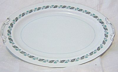Vintage Japan China Silver Wreath Tray PLATTER Blue Flo (Image1)
