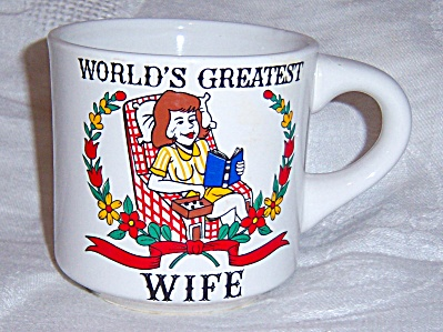 Vintage World's Greatest Wife Coffee Mug Cup LAZY WOMAN (Image1)