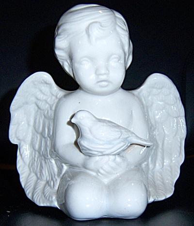 VINTAGE Boy ANGEL STATUE NUDE Figurine Holding BIRD ~ (Image1)