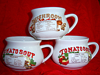 SET 3 Soup Recipe Cup Mug Bowl Vintage  Tomato ~ Mushro (Image1)