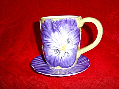 Majolica Style Purple  Pansy Floral Cup /Mug and Saucer (Image1)