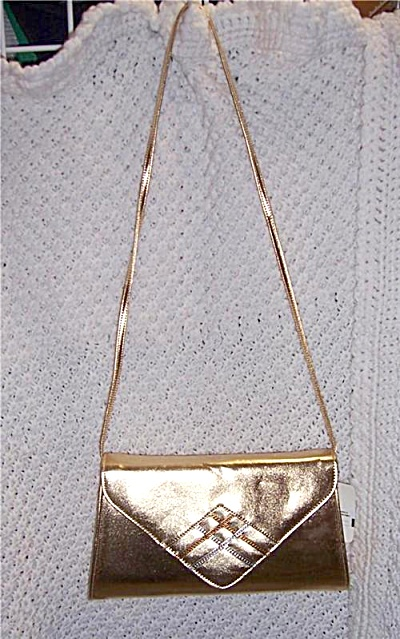 Vintage NOS Gold Metallic Shiny Leather / Leather like  (Image1)