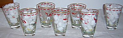 Lot Set Of Six Libbey Circus 10 Oz Beverage Glasses