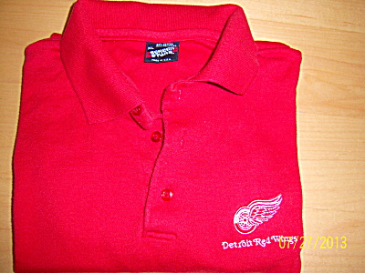 Vintage DETROIT RED WINGS Embroidered Polo SHIRT XL Scr (Image1)