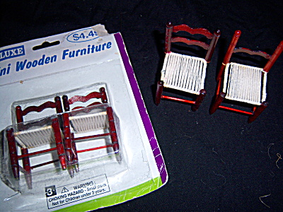 Vtg Deluxe Toys Dollhouse Wood Cane Chairs 4 In Pkg