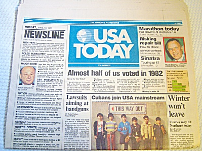 Newspaper: 1983 Usa Today April 18 Complete 4 Sect