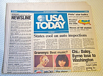 Newspaper: 1983 Usa Today February 23 Complete 4 Sectio